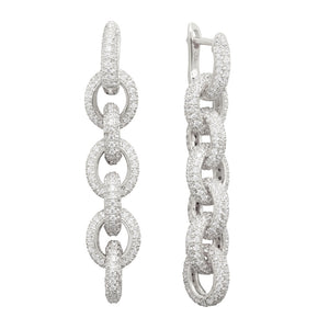 THE FALLON FOREVER PAVÉ LINK DROP EARRINGS IN RHODIUM. INTERLOCKING CHAINS OF GLITTERING AAA CUBIC ZIRCONIA CRYSTAL SET IN IMITATION RHODIUM-PLATED BRASS.