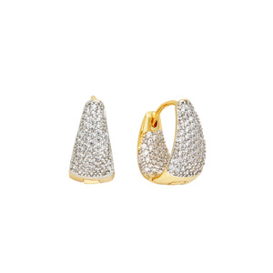 THE FALLON PAVÉ MINI HUGGIE HOOP EARRINGS.  GOLD PLATED BRASS AND CUBIC ZIRCONIA CRYSTAL.
