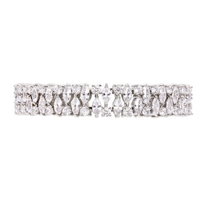 THE FALLON DOUBLE PEAR DIAMANTÉ BRACELET IS PURE ARM CANDY. Statement bracelet made from plated brass and cubic zirconia crystal.