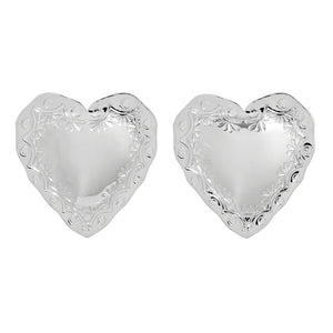HEART STATEMENT EARRINGS - RHODIUM