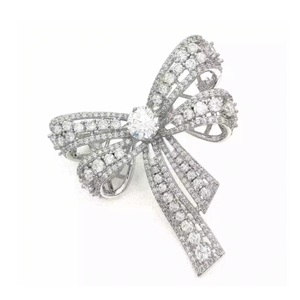 PUFFY DOUBLE BOW BROOCH - RHODIUM