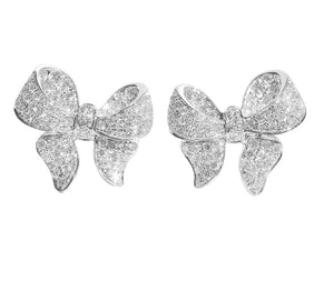 PUFFY BOW STUD EARRINGS - RHODIUM