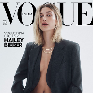 Hailey Bieber wearing the FALLON herringbone chain necklaces in MEDIUM and SHORT for the cover of Vogue India.