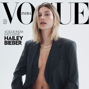Hailey Bieber wearing the FALLON herringbone chain necklaces in MEDIUM and SHORT for Vogue India..