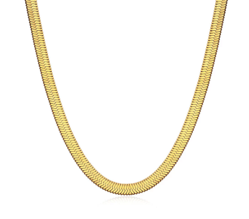 HAILEY HERRINGBONE CHAIN NECKLACE, SHORT - GOLD