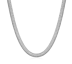 HAILEY HERRINGBONE CHAIN NECKLACE, SHORT - RHODIUM