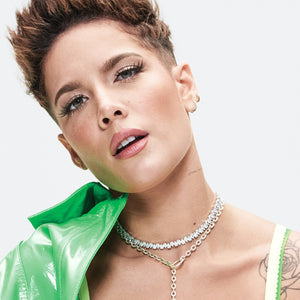 Halsey wearing the FALLON Jagged Edge Pear Toggle Choker Necklace for Glamour Magazine.  Rhodium plated brass and cubic zirconia crystal.  Adjustable to any neck size.