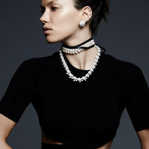 Shop the FALLON Monarch Pearl Leather Wrap Choker.