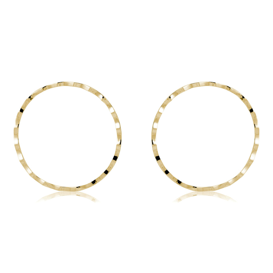 RIPPLED CHEEKBONE HOOP EARRINGS - GOLD