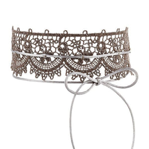ANDALUSIA STERLING LACE SCALLOPED SINGLE CHOKER - BLUSH