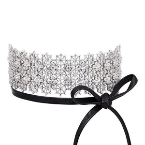 CHANTILLY LACE SINGLE WRAP CHOKER NECKLACE - RHODIUM