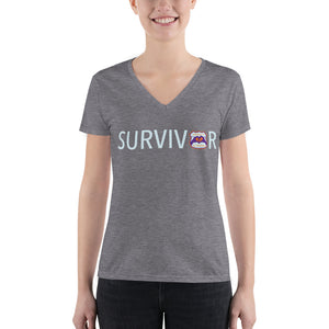 SURVIVOR Logo Fashion Deep V-neck Tee