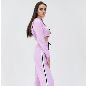 Double Sided Striped Tracksuit Set - Pink