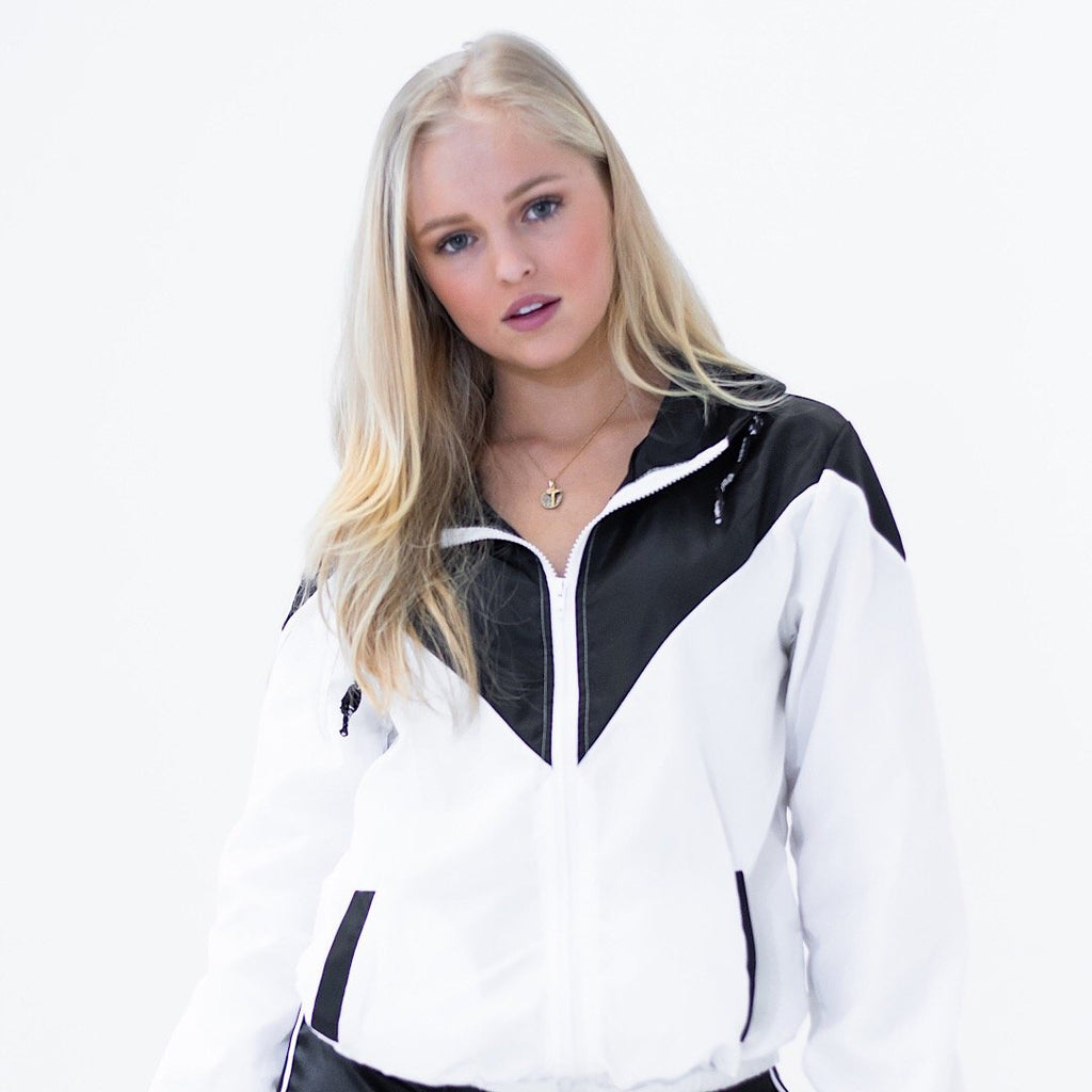 Mia Windbreaker Jacket - Black/White