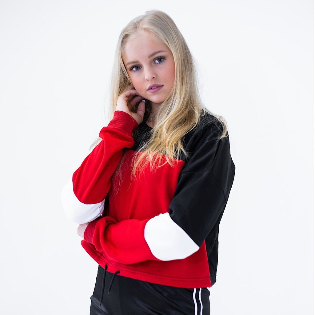 Drawstring  Pullover Sweatshirt - Red