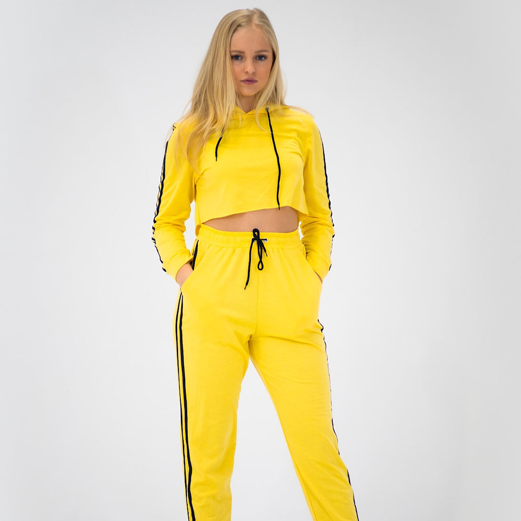 Double Sided Striped Tracksuit Set - Yellow