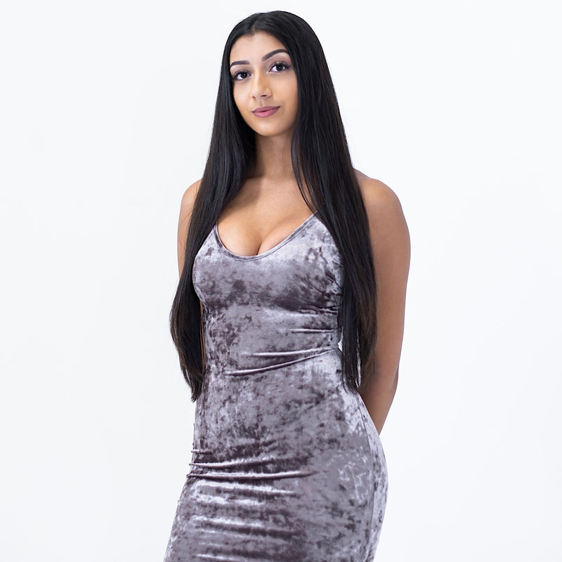 better than ever velvet dress - Grey