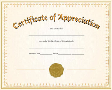 Certificate of Appreciation - Traditional