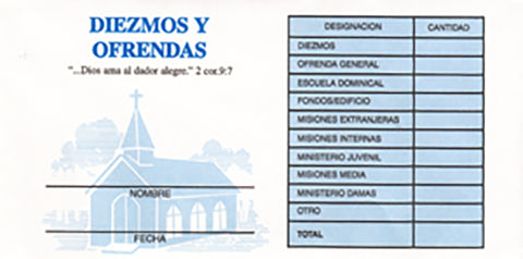 Tithe and Offering Envelope Bill Size #3 (Spanish)(Package of 500)
