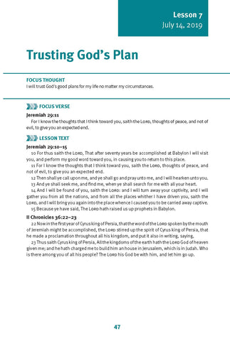 Trusting God's Plan Lesson 7 Adult Summer 2019 (Download)