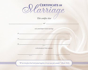 Marriage Certificate - Satin Fabric