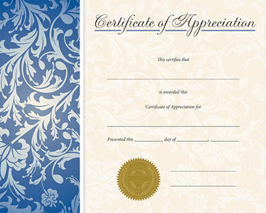 Certificate of Appreciation - Blue Vines