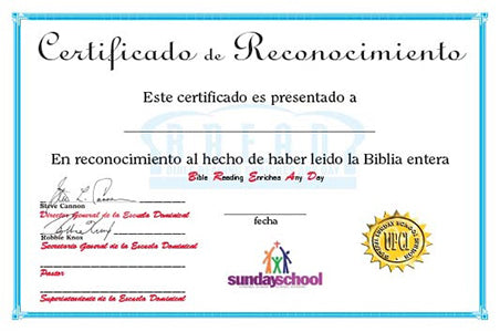 BREAD Certificate - Adult (Spanish)