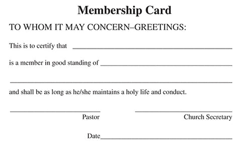 Membership Cards (Package of 12)