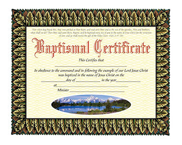Baptismal Certificates (Package of 20)