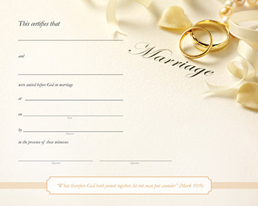 Marriage Certificate - Rings and Ribbons