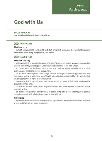 God with Us  Lesson 1 Adult Spring 2020 (Download)