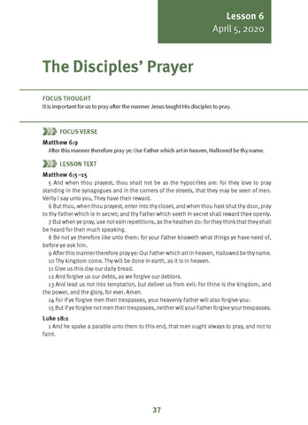 The Disciples' Prayer Lesson 6 Adult  Spring 2020 (Download)