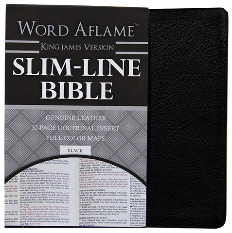 Slim Line Bible with Doctrinal Insert - KJV Genuine Leather