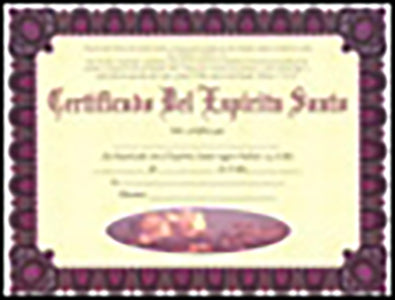 Holy Ghost Certificate - (Package of 20) (Spanish)