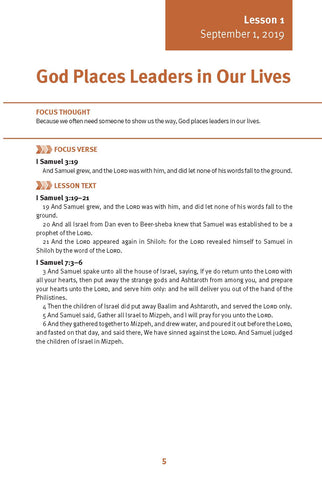 God Places Leaders in Our Lives Lesson 1 Adult Fall 2019 (Download)