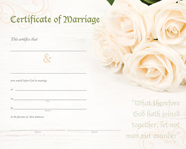 Marriage Certificate - Roses
