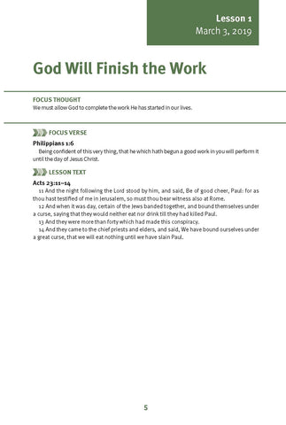 God Will Finish the Work Lesson 1 Adult Spring 2019 (Download)