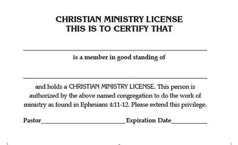 Christian Ministry  License Card