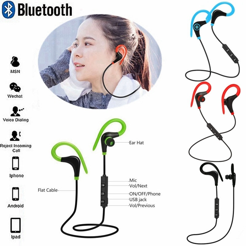 dc10ef0cdad Fashion CasualNew Bluetooth Headset Universal wireless Bluetooth Stereo  Sports Headphone with Microphone Earbuds