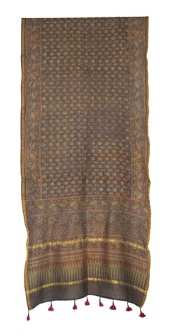 STOLE -  Ajrakh  Block Print on Chanderi Silk  Natural Dye and Fumka Work