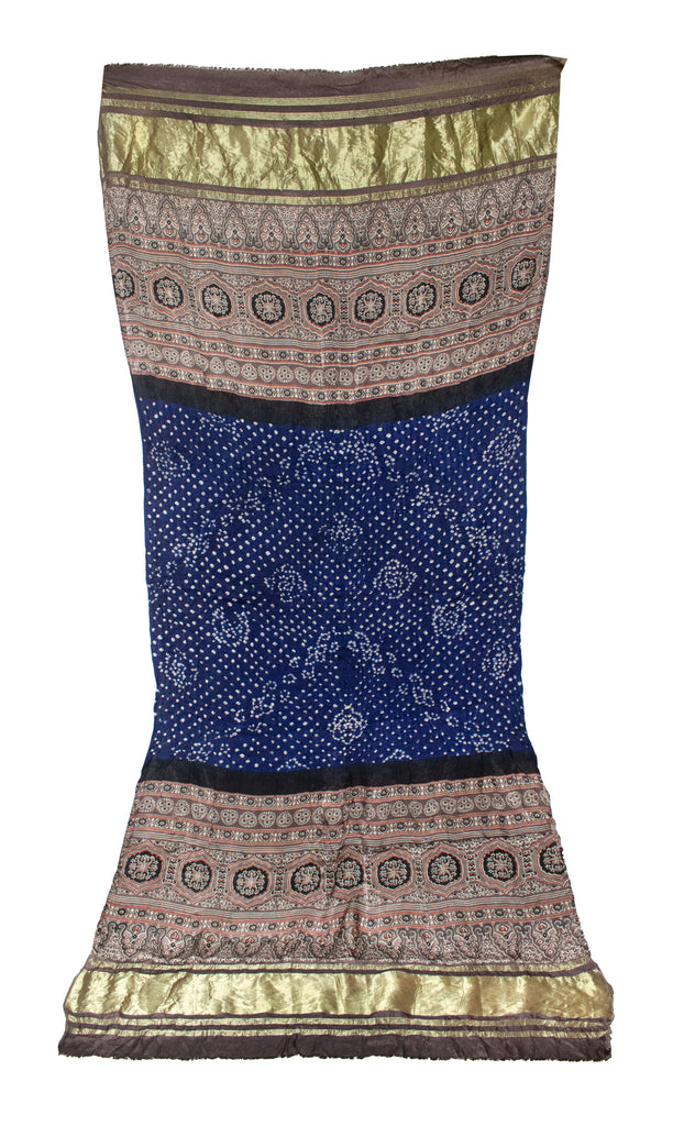 DUPATTA - Bandhej and Natural Dye Ajrakh Hand Block Print  Modal Silk Dual Craft