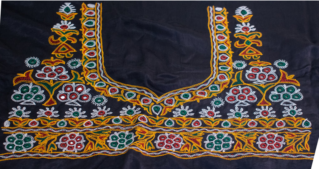 BLOUSE LONG - Aahir Hand Embroidery Mashru Silk Unstitched