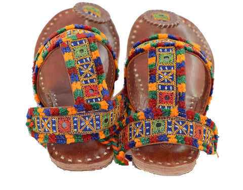CHAPPAL - Pure Leather Aahir Work Double Strap