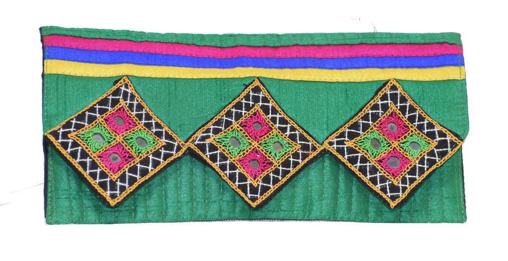Ladies Clutch Wallet Card Holder Purse Traditional Accessories Leather and Silk Women's Ethnic Handicraft Wallet for Girls Mashru Silk Mirror work Embroidery Tribal Handwork Kutch Handicrafts Handmade