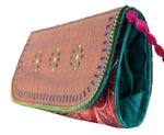 CLUTCH - Block Print Mashru Silk with Leather Craft Punch Work Flap with String