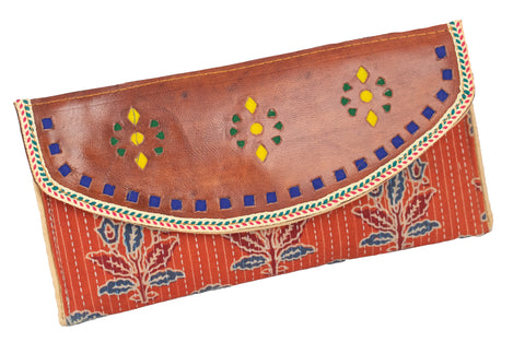 CLUTCH - Block Print Cotton with Leather Craft Punch Work Flap