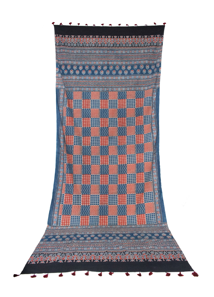 Ajrakh Block Print - Mul Cotton - Natural Dye - Hand Printed DUPATTA - With Tassels