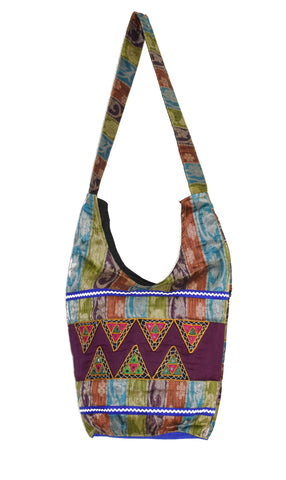 Hobo Tote Shopping Bag Raw Silk Shoulder Bag Thela Embroidery Work Bags Mirror Work  Kutchhi Work Ethnic Traditional Bags for Ladies Woman  Handbags Sling Bags Purse Handwork Handicraft Jhola Bag