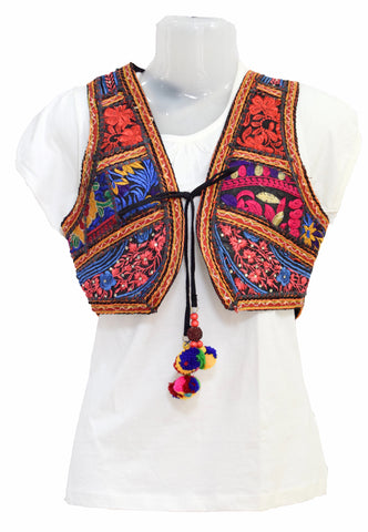 Kutchhi Koti Kutch Jacket Hand Embroidery Rabari Ahir Work Bavaliya Work Mirrorwork Jacket Kutch Handicraft Traditional Ethnic Wear Fashion Jacket Bela Print Mashru Silk Cotton Jacket Kutch Embroidery