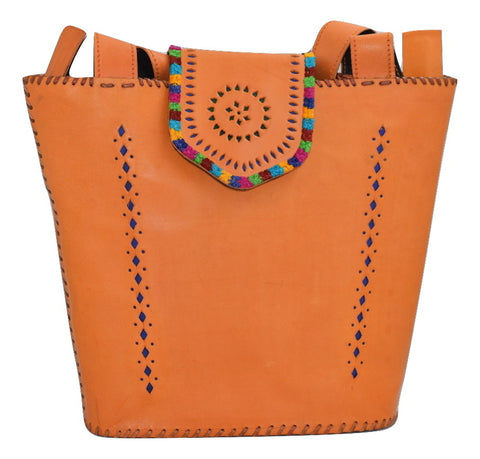 LEATHER PURSE - Kutchhi Cut Work Leather